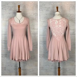 Free People blush pink long sleeve skater dress